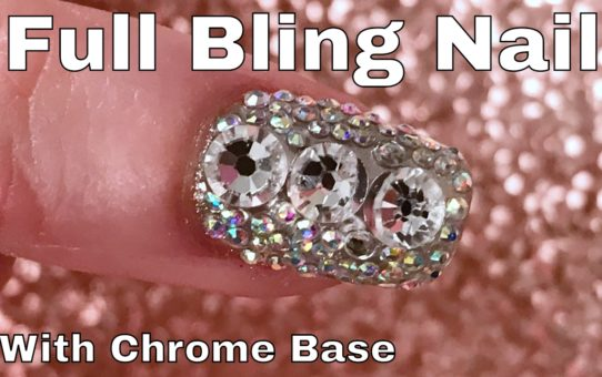 Full Bling Nail with Mirror Chrome Base