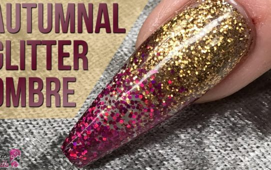 Autumnal Glitter Ombré Design – Quick and Easy Nail Tutorial – Transparent Look